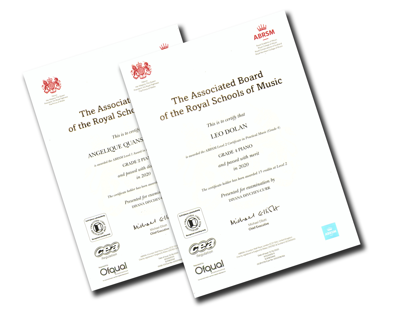 Piano Exam Certificates